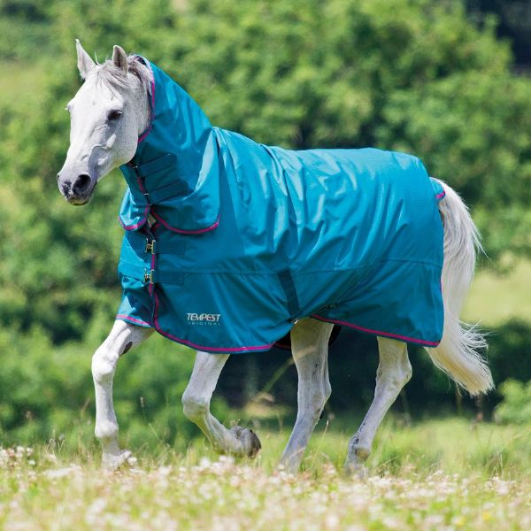 Shires Tempest Original 50g Combo Turnout Rug Sea Green/Pink